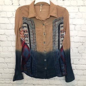By BKE buckle Aztec long sleeve button down shirt